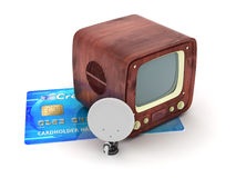 Satellite aerial, retro TV and credit card Royalty Free Stock Photo