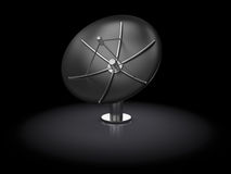 Satellite antenna. 3d illustration of metal satellite antenna over black background Royalty Free Stock Photography