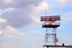 Satellite antenna communication technology network with blue sky. Royalty Free Stock Photography