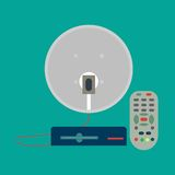 Satellite antenna. Satellite dish, receiver, remote control in flat style vector illustration