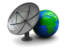 Satellite antenna and earth Stock Photo
