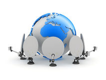 Satellite antenna and earth globe Stock Images