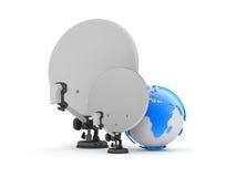 Satellite antenna and earth globe Stock Photo