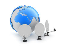 Satellite antenna and earth globe Stock Photography
