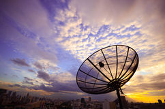 Satellite antenna. In evening sky Stock Image
