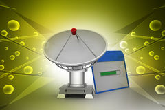 Satellite antenna with loading web page. In color background Royalty Free Stock Image