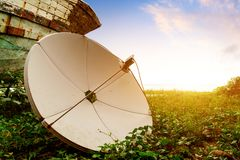 Satellite Antenna. By the sea royalty free stock photography