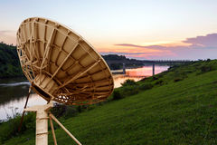 Satellite Antenna. In a small river, China rural landscape at dusk stock photos
