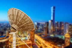 Satellite Antenna. In the tall buildings of the city stock photography