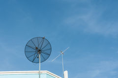 Satellite and Antenna TV. Conceptual of satellite and antenna on blue sky Stock Photography