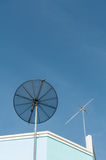 Satellite and Antenna TV. Conceptual of satellite and antenna on blue sky Stock Images