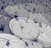 Satellite antennas. 3d Royalty Free Stock Photos