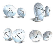 Satellite antennas 3d range four set Royalty Free Stock Photo