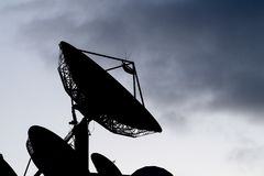 Satellite antennas black silhouette Royalty Free Stock Photography