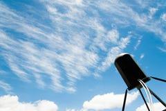 Satellite antennas with blue sky Royalty Free Stock Photo