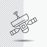 satellite, antenne, radar, l'espace, ligne icône sur le fond transparent Illustration noire de vecteur d'ic?ne illustration libre de droits