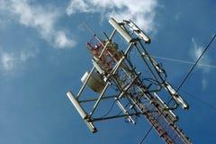 Satellite, antennes et ciel Photo stock