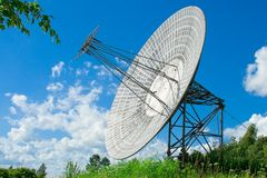 Satellite astronomy. The parabolic antenna on a background of the blue sky royalty free stock photo