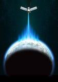 Satellite au-dessus de la terre Photographie stock libre de droits