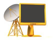 Satellite avec le moniteur. 3d Photo stock