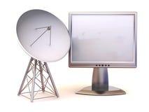 Satellite avec le moniteur. 3d illustration stock