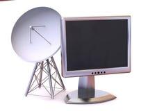 Satellite avec le moniteur Images stock