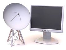 Satellite avec le moniteur illustration libre de droits