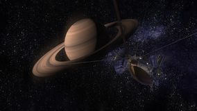 Satellite Cassini is approaching Saturn. Cassini Huygens is an unmanned spacecraft sent to the planet Saturn. CG animation. Satellite Cassini is approaching Royalty Free Stock Photos