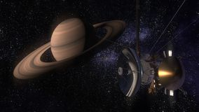 Satellite Cassini is approaching Saturn. Cassini Huygens is an unmanned spacecraft sent to the planet Saturn. CG animation. Royalty Free Stock Photo