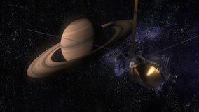 Satellite Cassini is approaching Saturn. Cassini Huygens is an unmanned spacecraft sent to the planet Saturn. CG animation. Satellite Cassini is approaching stock video