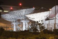 Satellite Communication Dishes. At night Stock Images