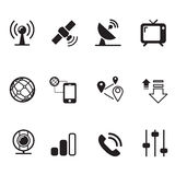 Satellite communication technology silhouette icons set Royalty Free Stock Photo