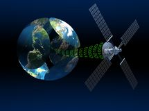 Satellite communications. With earth globe. Dark gradient blue background Stock Images