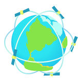 Satellite communications around world icon Stock Photos