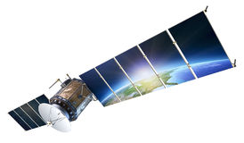 Satellite communications with earth reflecting in solar panels i Royalty Free Stock Photo