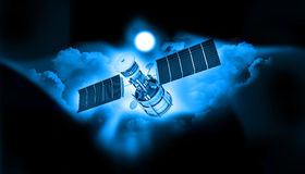 Satellite communications. Sky with satellite Stock Image