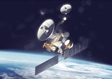 Satellite Communications In Space. A satellite probe tracking information and data in space. 3D Illustration vector illustration
