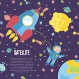 Satellite Conceptual Cartoon Vector Web Banner Royalty Free Stock Image