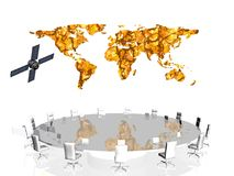 Satellite conference. Teamwork concept, satellite conference. World map in background Communication concept, clipping path Stock Photos