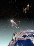 Satellite connection. Above the Earth, a giant parabolic antenna receives the connection waves from a satellite high in the sky Royalty Free Stock Image