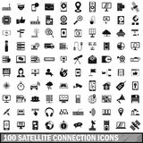 100 satellite connection icons set, simple style Stock Photos