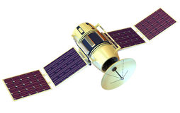 Satellite. 3D model of an artificial satellite Royalty Free Stock Photo