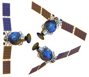 Satellite. 3D models of an artificial satellite Royalty Free Stock Image