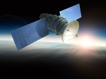 Satellite. 3d rendering satellite in space Royalty Free Stock Photos