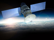 Satellite. 3d rendering satellite in space Stock Photo