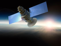Satellite. 3d rendering satellite in space Royalty Free Stock Photos