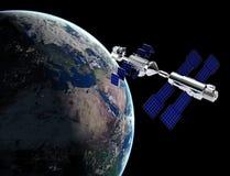 Satellite dans l'espace illustration libre de droits