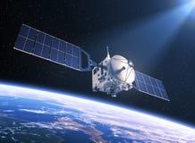 Satellite dans les rayons de la lumière Photographie stock