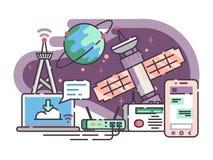 Satellite de l'espace pour l'Internet de communication illustration stock