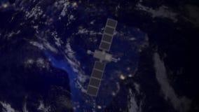 Satellite de télécommunication au-dessus de l'Amérique du Sud illustration libre de droits